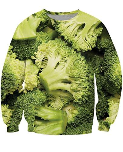 Hoodie,Neutral Hip Hop Sweatshirt Paar 3D Digital Print 3D Muster Brokkoli Geeignet für Sport Home Outdoor Weiche Atmungsaktiv, XL