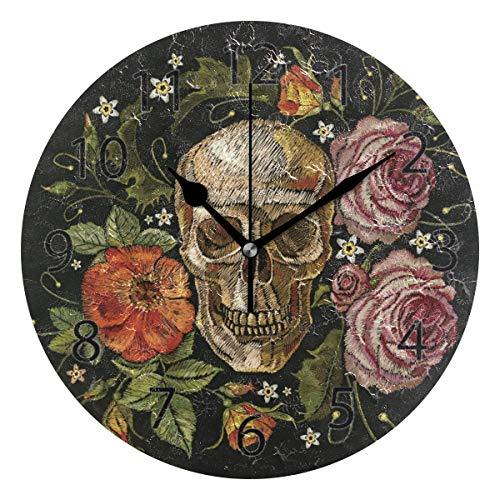 WlyFK Reloj de Pared Redondo Decorativo silencioso Que no Hace tictac de 25 x 25 x 0,5 cm para Sala de Estar, Oficina (Rosas de Flores de Hoja de Calavera Vintage)