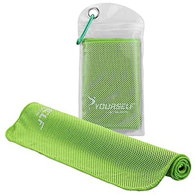 """SYOURSELF Cooling Towel for Instant Relief - Cool Bowling Fitness Yoga Towels - 40""""x12"""" Use as Cooling Neck Headband Bandana Scarf,Stay Cool for Travel Camping Golf Football &Outdoor Sports(Green)"""