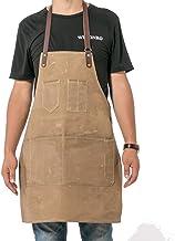 QCWN Canvas Keuken Chef Schort, Verstelbare Bib Schort met Zakken, Mannen & Vrouwen Keukenschort, Baking Schort, Crafting ...