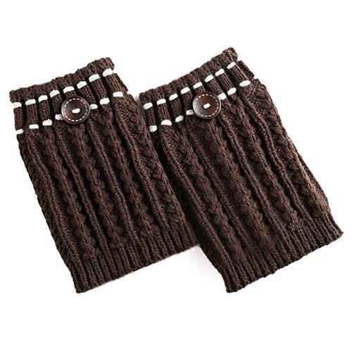CHIRORO Damen Stulpen Socken Winter Warme Kurze Stricken Beinwarmer Gestrickte Leg Warmers Stiefel Boot Abdeckung,Kaffee