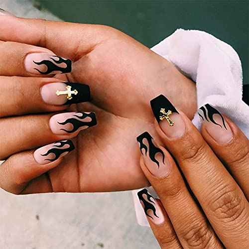 Halloween Press on Nails Medium Length Fake Nails Acrylic Nails Pumpkin Black Flame Cross head Design Nails Fake Nails Glue for Women and Girls the Most Fashionable Nail Decoration