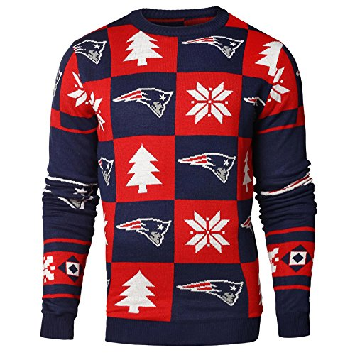 NFL New England Patriots Men's 2016 Patches Ugly Crew Neck Sweater, Large, Team Color