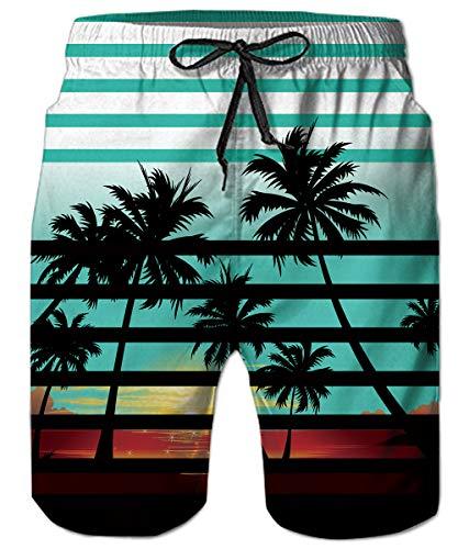 TUONROAD - Bañador para hombre con estampado 3D divertido, de secado rápido, para verano, casual, con forro de malla, S-3XL Rayas hawaianas. XXL