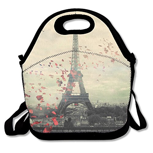Neoprene Lunch Tote - Paris Wallpaper Waterproof Reusable Cooler Bag For Men Women Adults Kids Toddler Nurses With Adjustable Shoulder Strap - Best Travel Bag