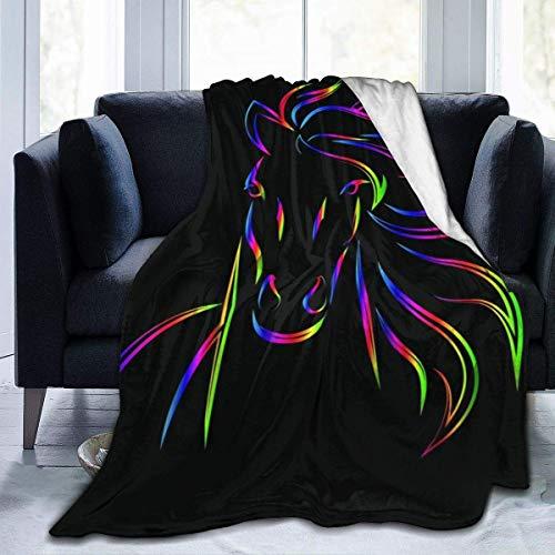 AEMAPE Animales Pinturas Em-broi-Dery Caballo Impreso Manta Tiro Ligero Súper Suave Micro Fleece Throw Mantas Apto Sofá Cama Sala Sofá Silla 50x40in