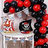 PartyWoo Piraten Luftballons, 43 Stück Folienballons Piraten, Luftballons Schwarz, Rote Ballons, Wimpel Party Pirate, Luftballons Pirat, Piratenluftballons für Piraten Kindergeburtstag, Piraten Party