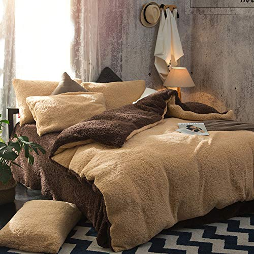 Nileco Double-einseitig Verdickung Warmer Flanell Bettbezug,Weich Lambswool Quilt-Abdeckung,Atmungsaktiver Tagesdecke für Schlafzimmer Schlafsaal Hotel