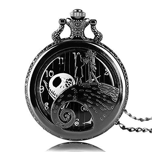 Aolvo Reloj de bolsillo grabado para hombres y mujeres, la pesadilla antes de la Navidad, reloj con diseño de gato Skellington, vintage mini reloj de bolsillo con cadena de encaje, de regalo ideales