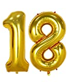 AULE 40 Inch Jumbo Gold Foil Mylar Number Balloons for Boy Girl 18th Birthday Party Decorations 18 Years Old Anniversary Party Supplies
