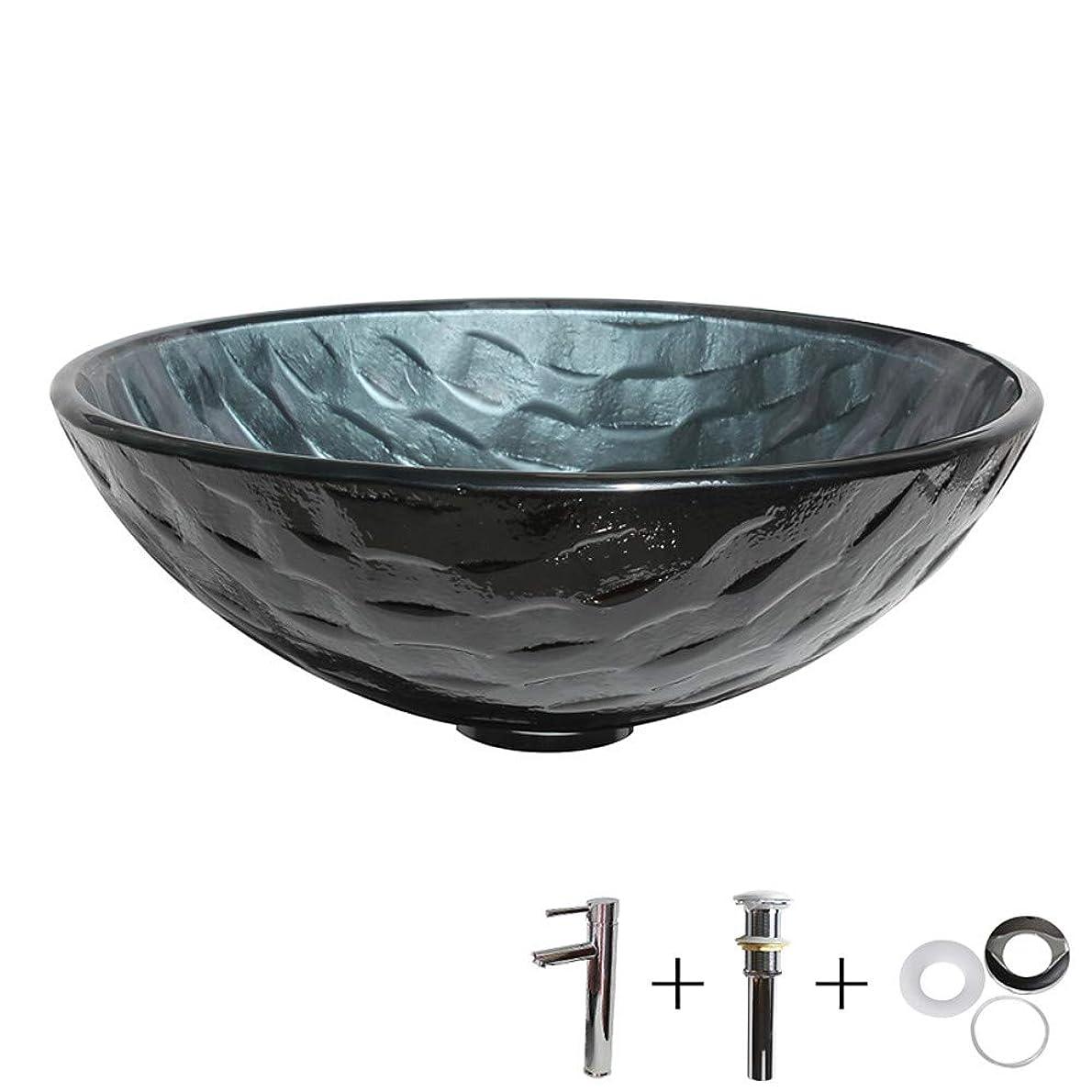 ボス厳密に昇るどのように-洗面ボウル 洗面ボウル/水栓/取付リング コンテンポラリー - 強化ガラス 円形