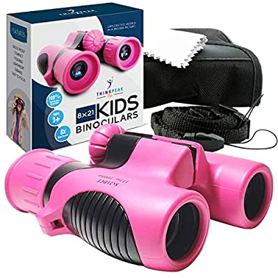 Binoculars for Kids High Resolution 8x21 - PINK Compact High Power Kids Binoculars for Bird Watching, Hiking, Hunting, Outdoor Games, Spy & Camping Gear, Learning, Outside Play, Boys & Girls Gift