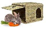 ANCLLO Casa de hierba de conejo tejido a mano natural para jugar al heno cama Hideaway cabaña para conejo, hámster, cobayas, chinchilla