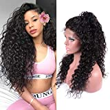 Lace Front Wig 150% Density Water Wave Human Hair Wigs for Black Women 13X4 Lace Front Wig Adjustable Straps Natural Color...