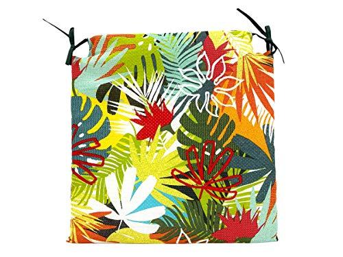 TIENDA EURASIA Pack de 4 Cojines para Sillas - Estampado Selva Tropical - 2 Cintas de Sujeción - Ideal para Interiores y Exteriores - 40 x 40 x 3 cm (Color)