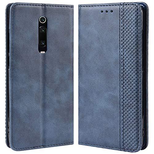 HualuBro Handyhülle für Xiaomi Mi 9T Hülle, Xiaomi Mi 9T Pro Hülle, Retro Leder Stoßfest Klapphülle Schutzhülle Handytasche LederHülle Flip Hülle Cover für Xiaomi Mi 9T Pro Tasche, Blau
