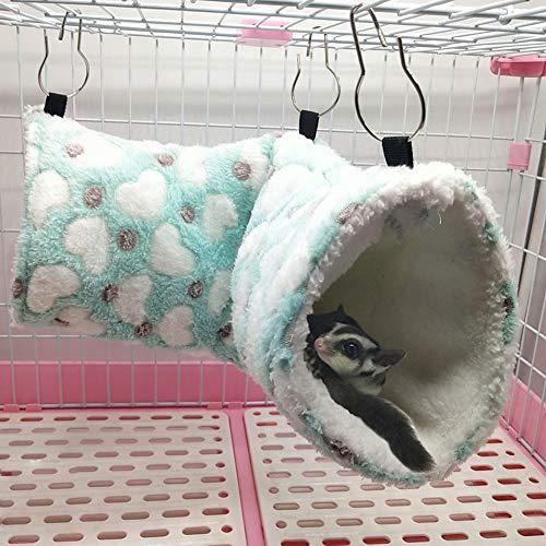 Yu-Xiang Love Hamster Spieltunnel Maus Agility Tunnel Kleine Tiere Spielzeug Jagd und Ruhen Hängematte Mäuse Haus Ratten Bett Haustier Käfig Dekoration Kleine Tiere Warm Baumwolle Nest, blau