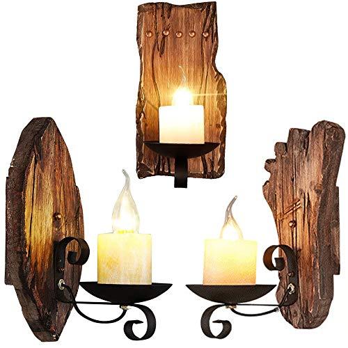 Addsn E14 Wandleuchte Holz Vintage Innen Kerzen Wandlampe mit Eisen Halterung, Schwarz Retro Klassisch Deko Wand Lampe für Treppen Flur Aisle Loft Bar Schlafzimmer,A