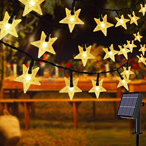 Outdoor Lights Garden Lights Solar String Star Lights, 60LED 36ft 8Mode Waterproof Outdoor Indoor Garden Lighting for Flower Fence Lawn Patio Festoon Summer Party Christmas Holiday