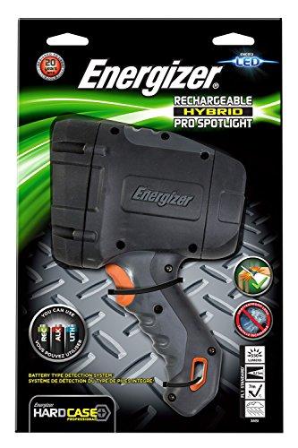 Energizer Taschenlampe Hard Case Rechargeable Hybrid Pro Spotlight (inkl. 6xAA Akkus, wetterfest IPX 4)