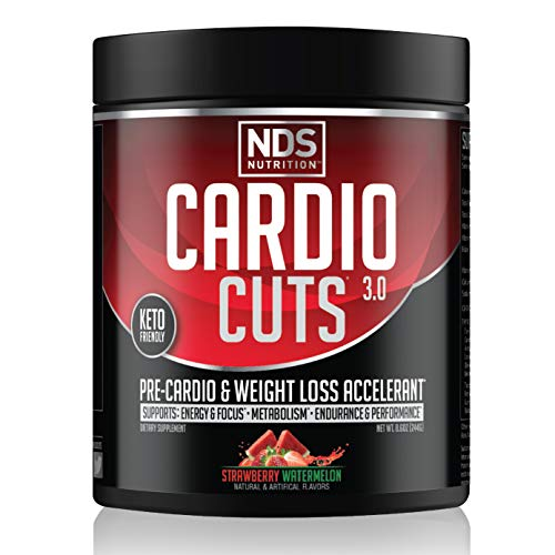 NDS Nutrition Cardio Cuts 3.0 Pre Workout Supplement - Advanced Weight Loss and Pre Cardio Formula with L-Carnitine, CLA, MCTs, L-Glutamine, and Safflower Oil - Strawberry Watermelon (40 Servings)