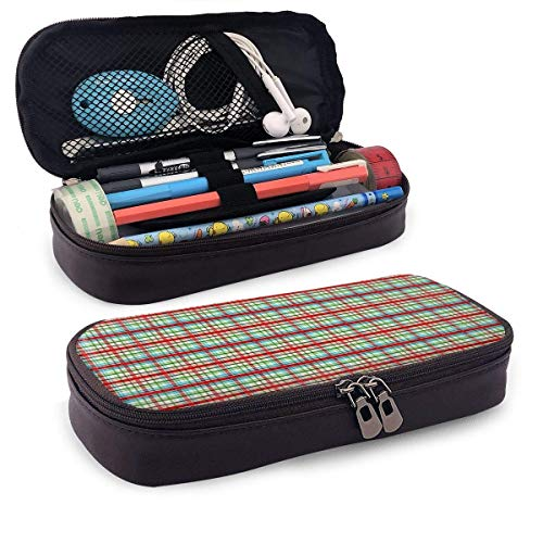 Lawenp Christmas Colorized Tartan Leather 3D Nano Printed Pencil Case Pouch Zippered Cute Pen Pencil Case Box School Supply for Students,Big Capacity Stationery Box for Girls Boys and Adults