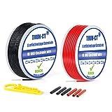 22 AWG eléctricos de núcleo sólido deAlambres eléctricos Kit - Cable eléctrico de cobre estañado flexible 2 Colores(Negro+Rojo) 20 Metros aislamiento de PVC, cinta aislante, pelacables