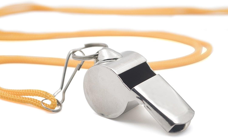 GOGO 100 Pcs Sporting Metal Pea Whistle with Lanyard Referee Whistles Bulk Sale