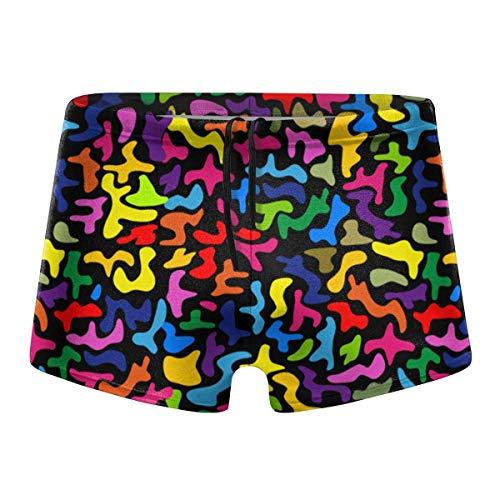 HKKH Color Psychedelic 80s Herren Badeshorts Badehose Quick Dry Summer Swimwear