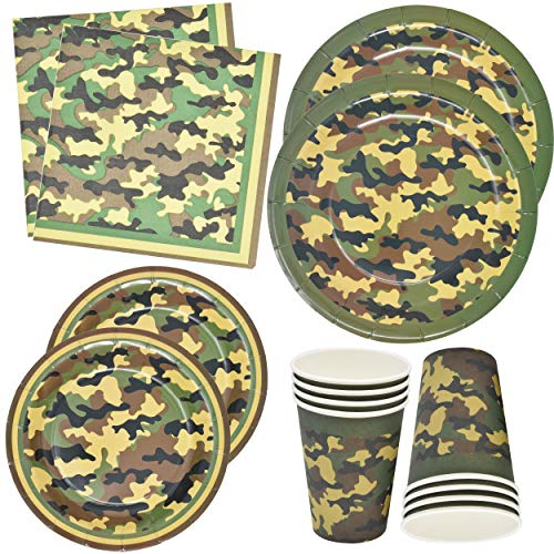 Camo Party Supplies Set 24 9' Plates 24 7' Plates 24 9 Oz Cups 50 Luncheon Napkins Birthday Decorations Hunting, Army, Camouflage, Military Paper Pack Tableware Set Camo party Favors by Gift Boutique