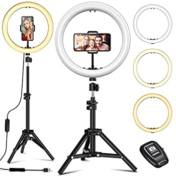 12  Selfie Ring Light with Tripod Stand - Dimmable Desktop Ringlight with DIY Ports Circle Light LED Camera Lighting for Live Stream/Makeup/YouTube/TikTok Compatible with iPhone Android