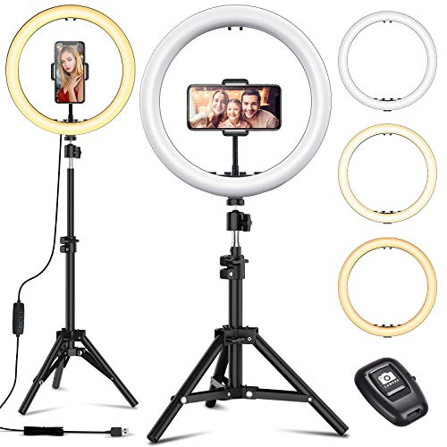 12″ Selfie Ring Light with Tripod Stand – Dimmable Desktop Ringlight with DIY Ports, Circle Light LED Camera Lighting for Live Stream/Makeup/YouTube/TikTok, Compatible with iPhone Android