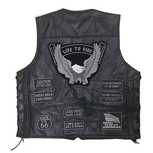 Chaqueta de moto Motocicleta Biker Ceket Chaleco de cuero de piel de oveja Chaqueta para hombre Chaqueta Biker Punk Chaqueta retro Casual Moto Chaleco Ropa