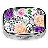 Floral Calado Vintage Personalizado Moda Cuadrado Plata Pastillero Medicina Tablet Titular Monedero Organizador Caso para Bolsillo o Monedero