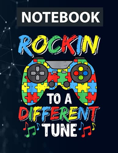 Gaming Video Game Rocking To Different Tune Autism Awareness 130 Pages 8.5''x11'' in College Ruled Notebook