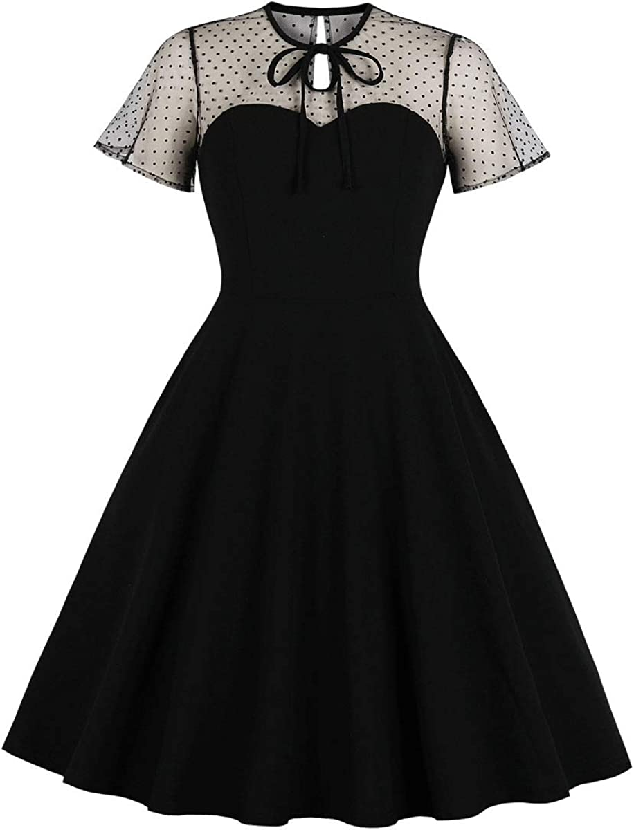 Wellwits Women's Polka Dots Embroidery Keyhole Tie Vintage Cocktail Dress