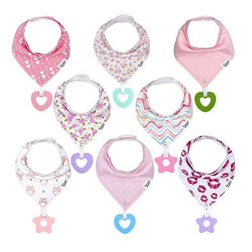 Baby Bandana Drool Teething Bibs for Girl - Super Absorbent Organic Cotton Bibs with Teethers for Girls,Teething Toy Bibs Set Adjustable Snap Baby Shower Gift (8 Pack -2)