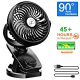 NANW Stroller Fan Clip on Battery Operated Fans, 2019 Newest 40 Hours Rechargeable