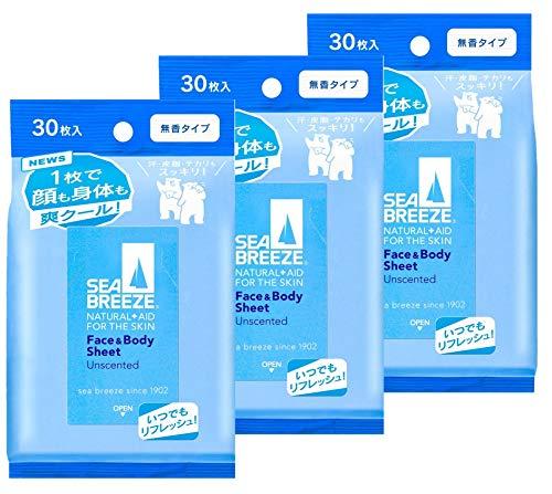 【まとめ買い】SEABREEZE(シーブリーズ) シーブリーズ フェイス&ボディシート 無香 30枚×3個 3個セット 30枚 (x 3)