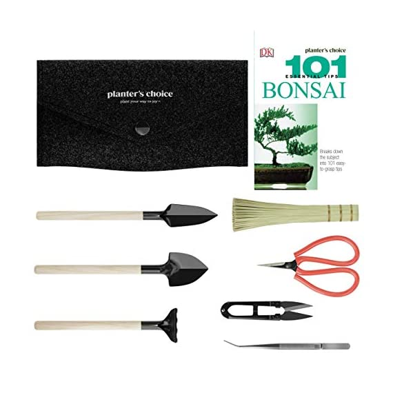 """Premium Bonsai Tool Kit + Bonsai 101 Book - Set Includes: Wooden Rake, Long & Wide Spades, Scissors, Tweezers, Bamboo… 8 Everything you need to care for your bonsai, in one stylish case: pruning shear and scissors to cut twigs, smaller branches, leaves or roots easily. Pair of tweezers to remove dead leaves, insects, weeds and other fine debris. Bamboo brush to enhance your bonsai tree, bamboo rake to plane or rake the surface of the soil when repotting, and 2 spades (long & wide). Includes best selling book """"bonsai: 101 essential tips"""" by bonsai expert Harry Tomlinson (DK Publishing), with 72 full color illustrated pages. Everything you need to know about bonsai care, maintenance, design, and arrangement. With clear explanations of bonsai and what it is, these 101 easy-to-grasp tips have everything you need to get the results you want. Premium quality: Everything is made with only the finest steel and bamboo, as you would expect from the Planters' Choice brand. And it comes neatly packaged in a stylish storage case so that it makes a great gift for your friend or family."""