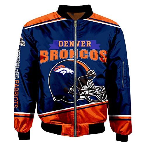 VIVICL Herren Jacke Für NFL Denver Broncos 3D Softshelljacke Übergangsjacke Windstopper...
