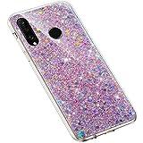 Uposao Compatibile con Huawei P30 Lite Custodia Cover Soft Rubber Case Lussuoso Glitter Brillantini Trasparente Cover Silicone Bumper,Rosa
