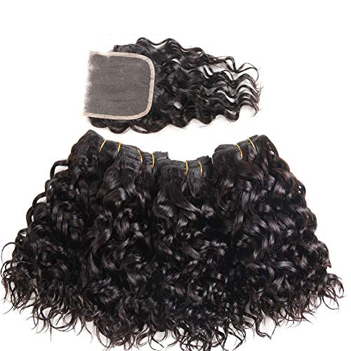 Brazilian Water Wave Hair 3 Bundles Wet and Wavy Human Hair Bundle Deals Ocean Wave Human Hair Weave Extensions Remy Hair Bundles Brazilian Water Curly Hair (12 12 12)
