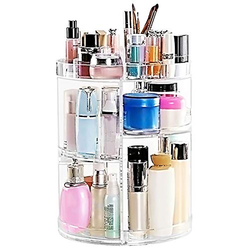 Makeup Organizer 360 Degree Rotating Large Capacity Cosmetic Storage Box 7 Layers Adjustable Shelf Height Fits Makeup Brushes Lipsticks for Bedroom Bathroom Dresser or Vanity Countertop