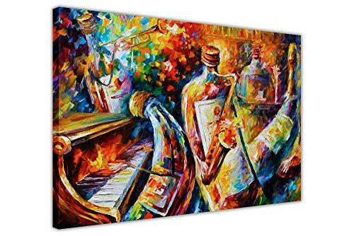 Canvas It Up - Dipinto astratto con musicisti, Jazz by Leonid Afremov, stampa su tela in arte moderna Contemporaneo 04- 30' X 20' (76CM X 50CM)