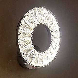 Crystal Aisle lamp LED Ring Stainless Steel Wall lamp Bedside Night lamp Stair lamp (White Light)