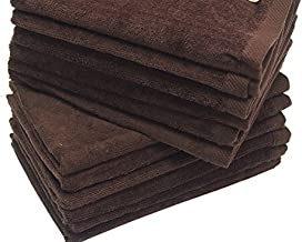 12-PACK DARK BROWN FINGERTIP TOWELS TERRY-VELOUR HEMMED 100% COTTON SIZE 11X18 (12)