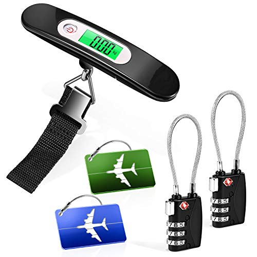 Yosemy Luggage Locks Luggage Tag Suitcase 1 x Digital Luggage Scales Luggage Scales 2 x TSA Lock 2 x Aluminium Luggage Tags Cable Lock Travel Lock Suitcase Lock Hanging Scales with 50 kg