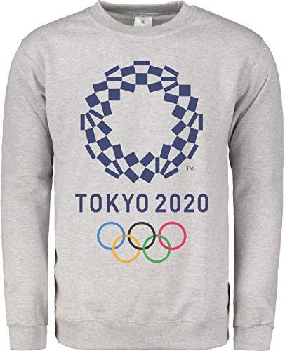 TeezoneDesign Herren Sweatshirt, 2020 Sommer Olympische Spiele Mode Design Bekleidungslinie Gr. XX-Large, grau