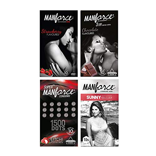 Manforce Condoms Combo Pack (Strawberry, Chocolate, Litchi, Sunny Flavoured)- 10 Pieces (Pack of 4)